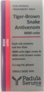 antivenom for the treatment of snake bites in cats and dogs